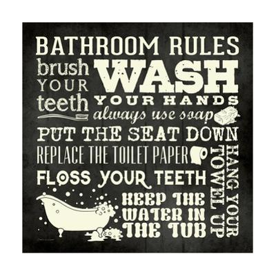 Bath Rules B&W by Stephanie Marrott