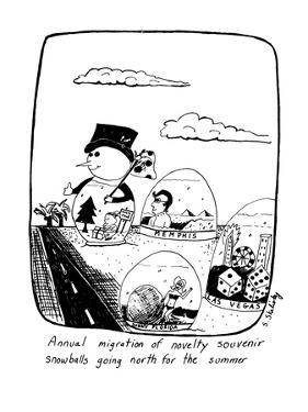 Annual migration of novelty souvenir snowballs going north for the summer - New Yorker Cartoon by Stephanie Skalisky