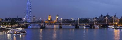 A Blended Composite Panoramic of London on the Thames River at Dusk