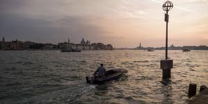 A Commuter on a Boat in the Giudecca Canal by Stephen Alvarez