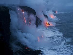 Lava Flows into the Ocean, Hawaii Volcanoes National Park, Hawaii by Stephen Alvarez