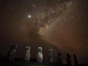 Moai at Ahu Akivi at Night Beneath the Milky Way by Stephen Alvarez
