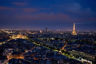 Paris skyline at dusk from the Hotel Concord roof. by Stephen Alvarez