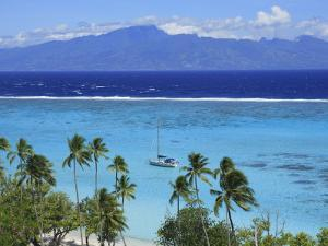 Sailboat Anchored in the Channel Between Tahiti and Moorea by Stephen Alvarez