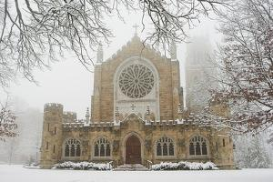 Snow-covered Trees and All Saint's Chapel in Heavy Fog by Stephen Alvarez