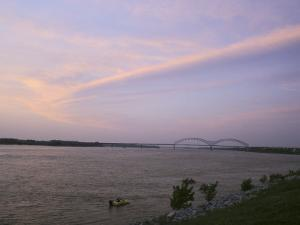The Sun Sets on the Mississippi River at Memphis, Tennessee by Stephen Alvarez