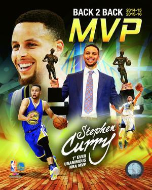 Stephen Curry 2016 Back to Back MVP Portrait Plus