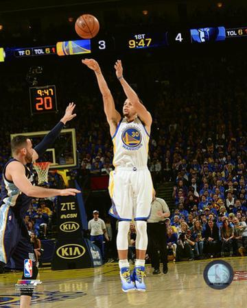 Stephen Curry during the Golden State Warriors NBA record 73rd win of the season- April 13, 2016