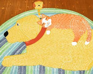 Catnap Yellow Dog Orange Cat by Stephen Huneck