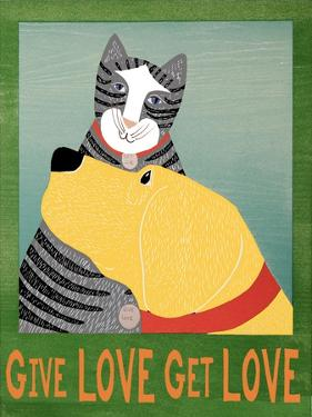 Get Love Give Love Banneryellow Dog And Grey Cat by Stephen Huneck