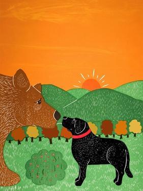 I Meet A Bear Black Autumn by Stephen Huneck