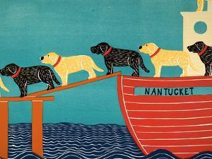 Island Ferry Nantucket Black Yellow by Stephen Huneck