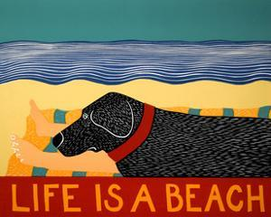 Life Is A Beach Black by Stephen Huneck