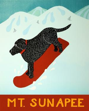 Mt Sunapee Snowboard Black by Stephen Huneck