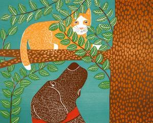 Up A Tree Yellow Cat Choc by Stephen Huneck