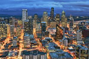 Illuminated of Downtown Seattle by Stephen Kacirek