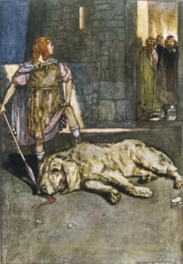 Cuchulain (Cu Chulainn) Slays the Hound of Culain by Stephen Reid