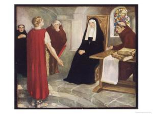 Saint Hilda of Whitby Anglo-Saxon Abbess Receiving a Visit from Caedmon by Stephen Reid