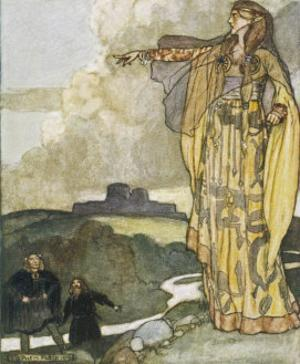 The Devine Queen Macha Curses the Men of Ulster Because They Once Insulted Her Prowess by Stephen Reid