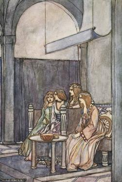 There sat the three maidens with the Queen', c1910 by Stephen Reid
