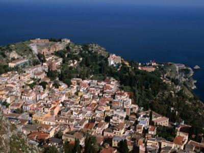 Aerial View of Coastal Town Including Teatro Greco (Greek Ampitheatre), Taormina, Sicily, Italy