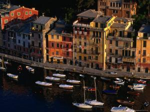 Boats in Harbour with Buildings, Portofino, Liguria, Italy by Stephen Saks