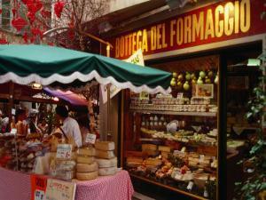 Cheese Stall Outside Cheese Shop on Via Pessina, Lugano, Ticino, Switzerland by Stephen Saks
