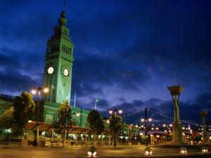 Evening View of Ferry Building on Embarcadero, San Francisco, California, USA by Stephen Saks