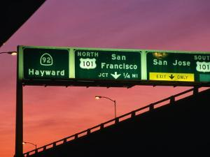 Freeway Sign in Mateo County, San Francisco, California, USA by Stephen Saks