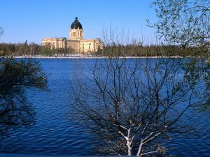 Legislative Building and Wascana Lake After Late Spring Snowfall, Regina, Saskatchewan, Canada by Stephen Saks
