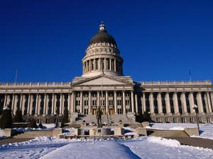 Snow in Front of State Capitol Building, Salt Lake City, Utah, USA by Stephen Saks