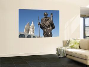 Statue of Mohandas Karamchand Gandhi at Ferry Plaza with Ferry Building Clocktower in Background by Stephen Saks