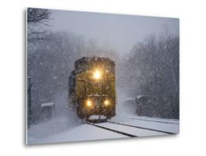 A Train Pushes Through Thick Falling Snow During 'Blizzard of 2010' by Stephen St. John