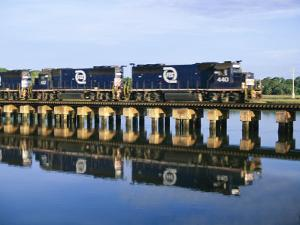 An Early Freight Train Crosses the Trestle over the Matanzas River by Stephen St. John