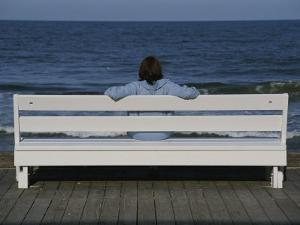 Morning Boardwalk Visitor in Quiet and Balanced Ocean Contemplation by Stephen St. John