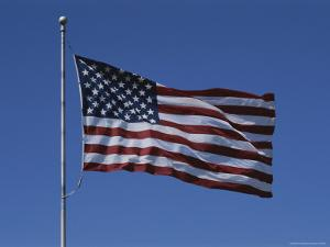 The American Flag Flies Proudly in a Stiff Breeze by Stephen St. John
