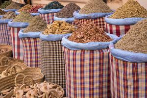 Bags of Herbs and Spices for Sale in Souk in the Old Quarter, Medina, Marrakesh, Morocco by Stephen Studd