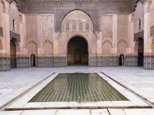 Central Courtyard and Pool, Medersa Ali Ben Youssef, Medina, Marrakesh, Morocco by Stephen Studd
