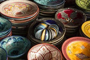 Colourful Bowls in the Old Souk, Old Medina, Marrakesh (Marrakech), Morocco, North Africa by Stephen Studd