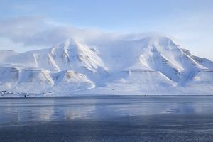 Hiorthfjellet Mountain, Adventfjorden (Advent Bay) Fjord with Sea Ice in Foreground, Svalbard by Stephen Studd