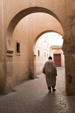 Man Walking Down Narrow Alley by Ali Ben Youssef Medersa, North Africa by Stephen Studd