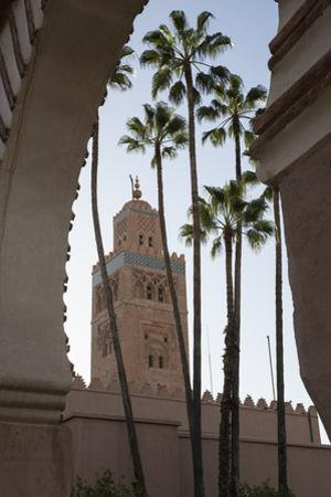Minaret of Koutoubia Mosque with Palm Trees, UNESCO World Heritage Site, Marrakesh, Morocco