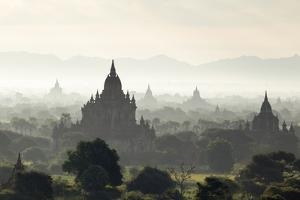 North and South Guni Temples Pagodas and Stupas in Early Morning Mist at Sunrise by Stephen Studd