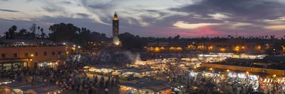 Panoramic View of (Jemaa) Djemaa El Fna Square and Koutoubia Mosque