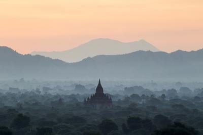 Temple in Early Morning Mist at Dawn, Bagan (Pagan), Myanmar (Burma) by Stephen Studd