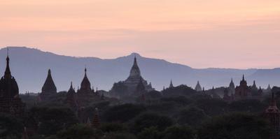 View Towards Shwesandaw Temple, Pagodas and Stupas at Sunset, Bagan (Pagan), Myanmar (Burma) by Stephen Studd