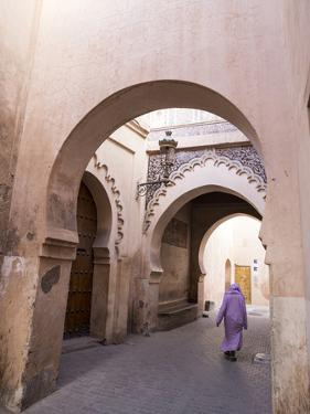 Woman in Traditional Djellaba Dress in Narrow Streets of Old Quarter, Medina, Marrakesh, Morocco by Stephen Studd