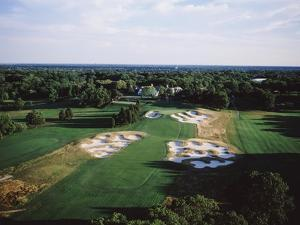 Bethpage State Park Black Course, aerial of the last hole by Stephen Szurlej