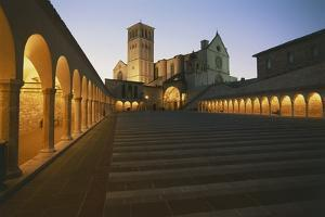 Steps Leading to a Church, Basilica of San Francisco, Assisi, Umbria, Italy