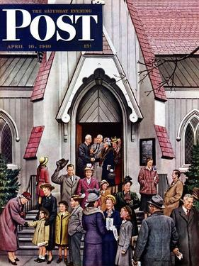 """After Church,"" Saturday Evening Post Cover, April 16, 1949 by Stevan Dohanos"